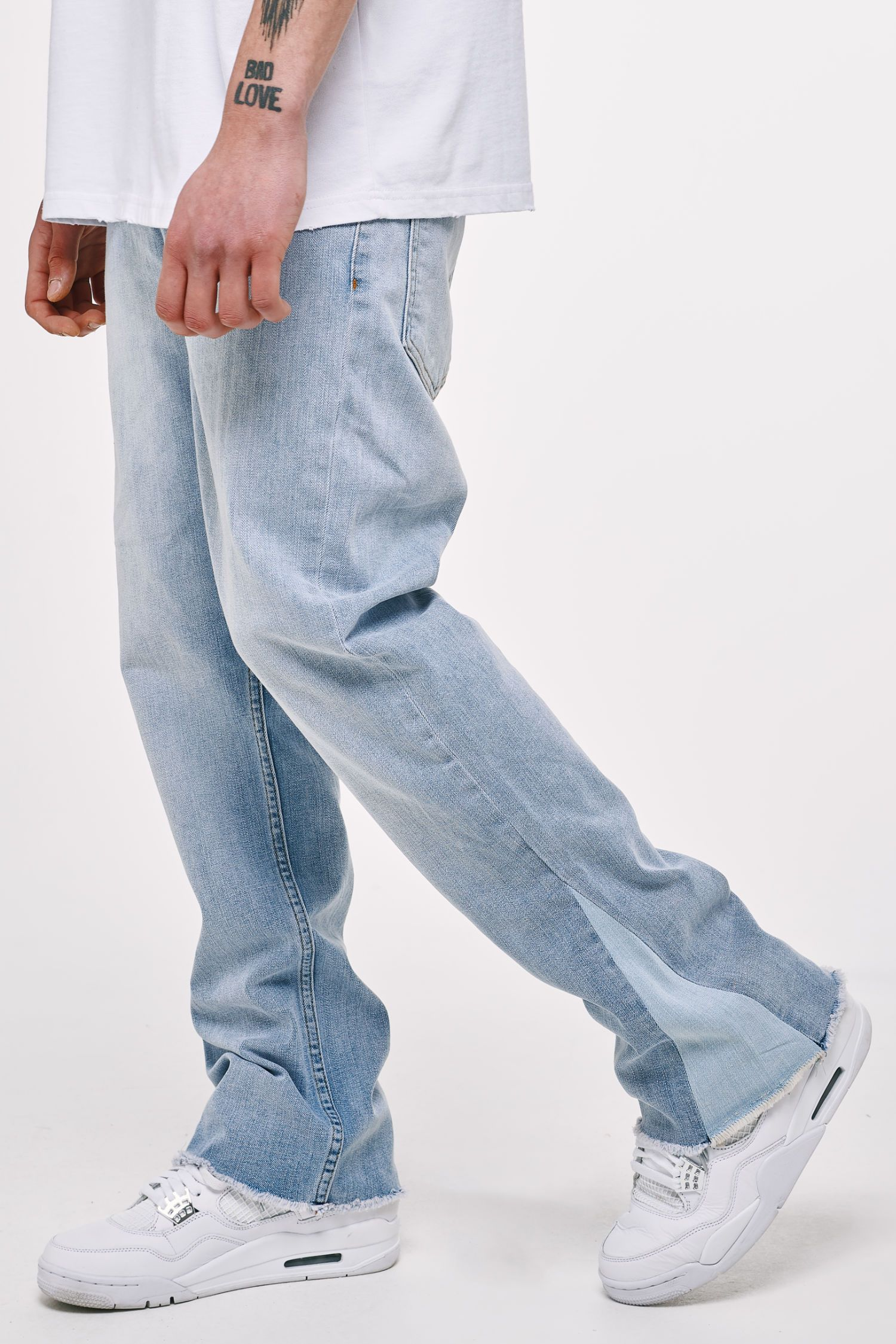 Wide Leg Jeans Washed Light Blue Jeans Heavyweight Champions