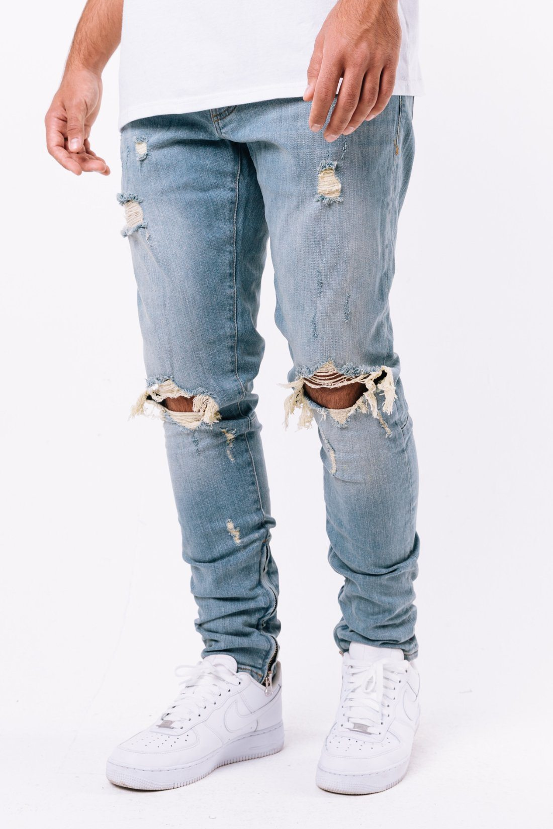 Mitu Distressed Jeans Washed Light Blue Jeans PEGADOR