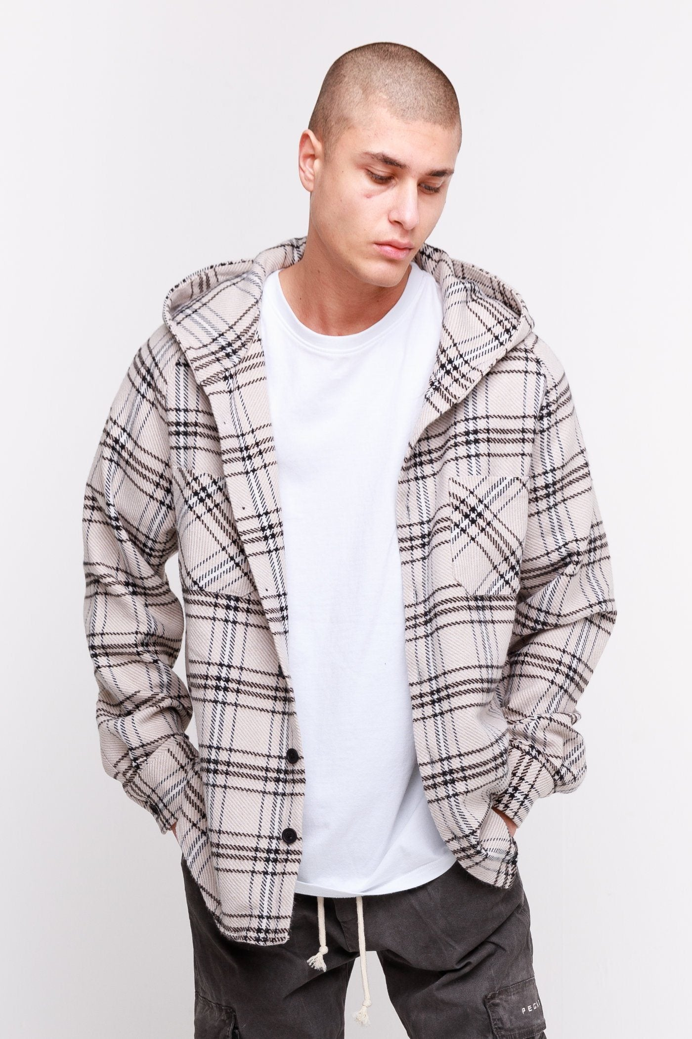 Melton Hooded Heavy Flannel Shirt Taupe SHIRT Frozen