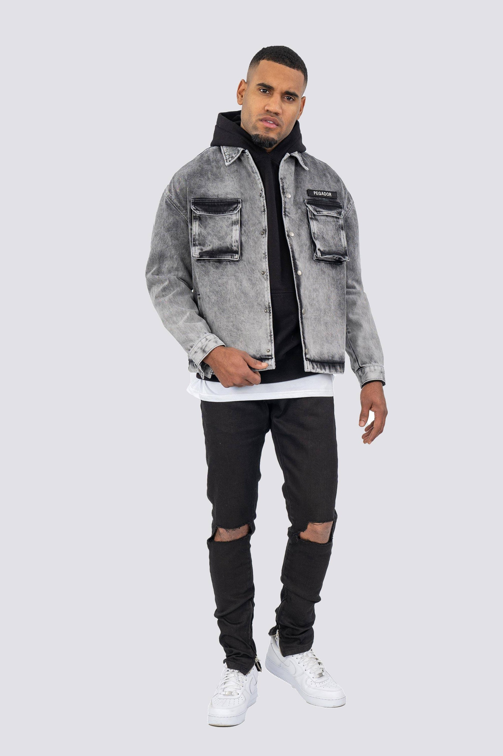 Cargo Oversized Denim Jacket Grey BLACK WEEKEND SALE | JACKET PEGADOR