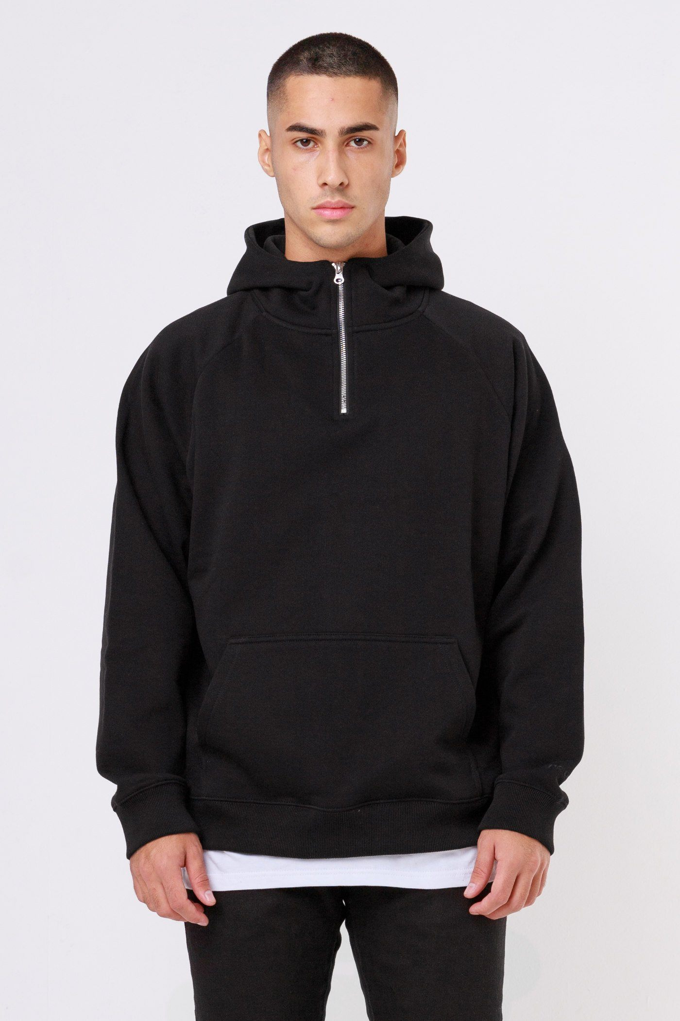 Oversized Half Zip Hoodie Black Hoodies One blood