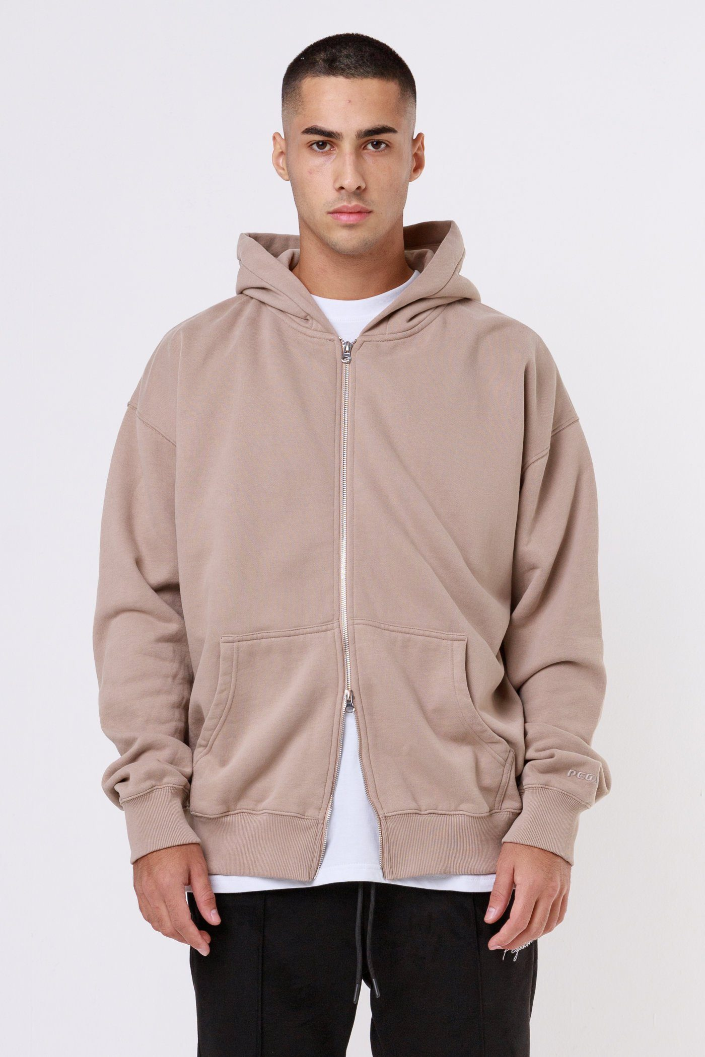 Oversized Sweat Jacket Washed Taupe SWEATER One blood