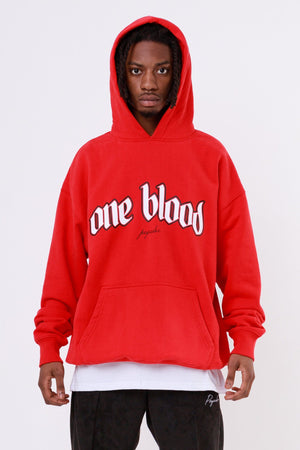 One blood - Oneblood Oversized Hoodie Washed Blood Red - $79.95