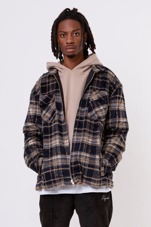 One blood - Alvo Hairy Flannel Jacket Dark Saphire - $79.95