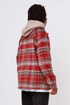 One blood - Alvo Hairy Flannel Jacket Blood Red - $79.95