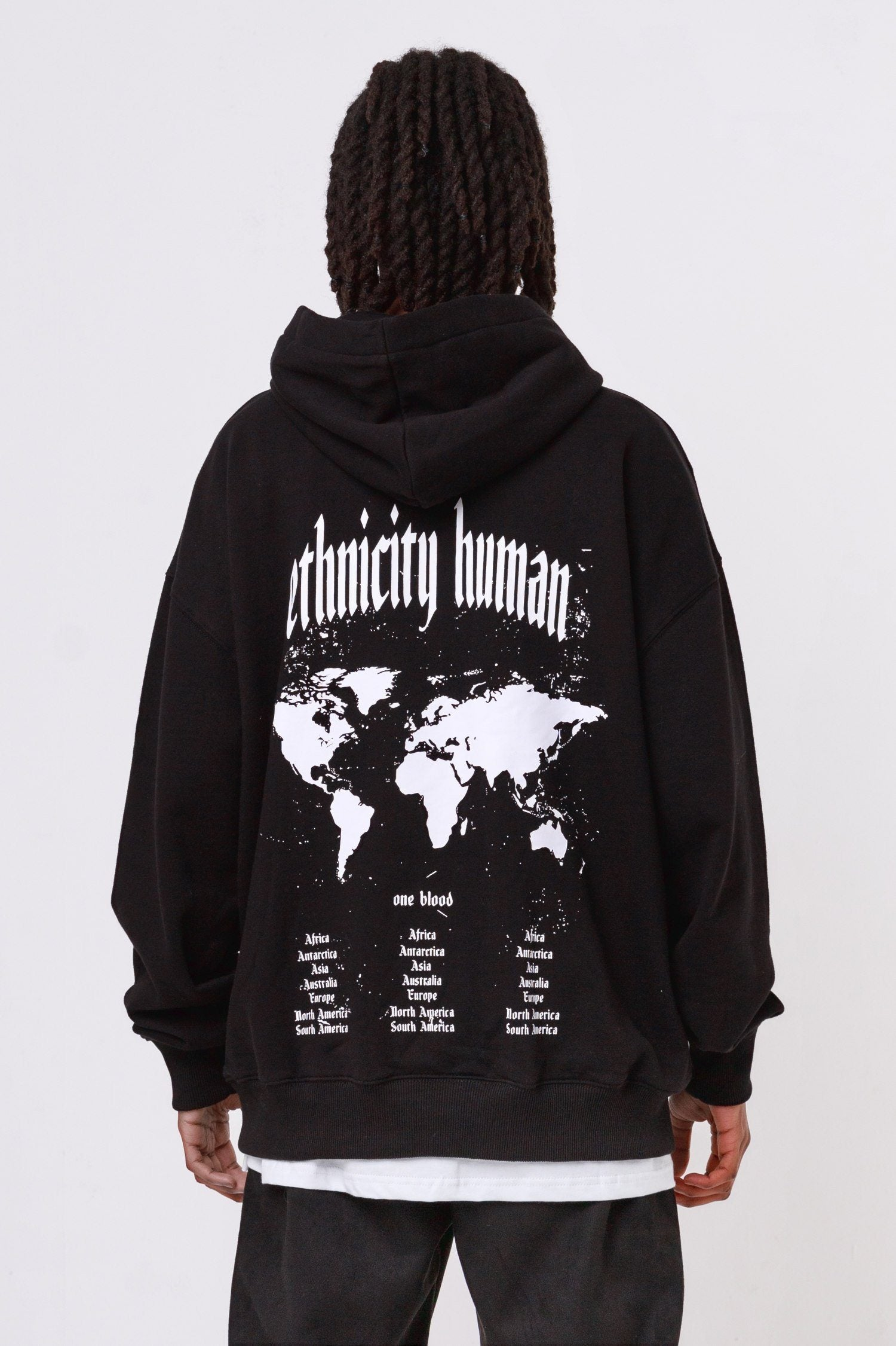 World Oversized Hoodie Black Hoodies One blood