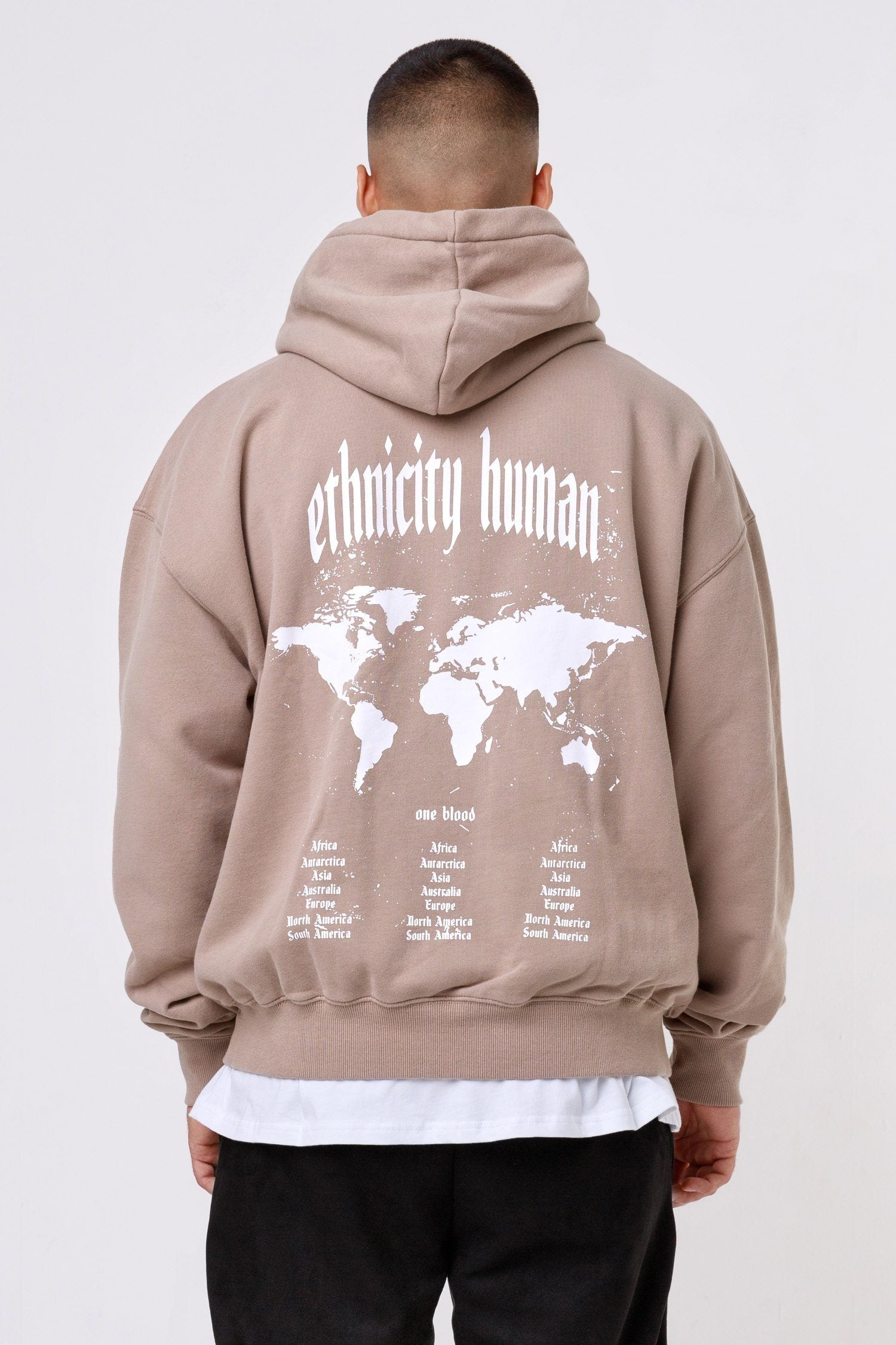World Oversized Hoodie Washed Taupe Hoodies One blood
