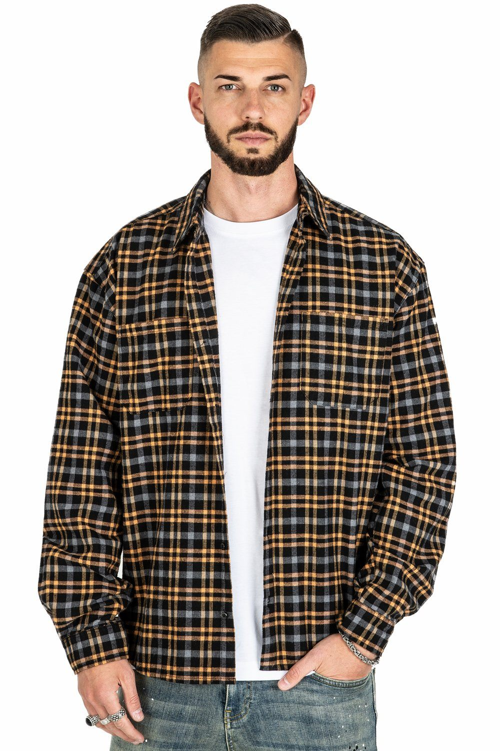 Fio Flannel Shirt Black Beige SHIRT PEGADOR