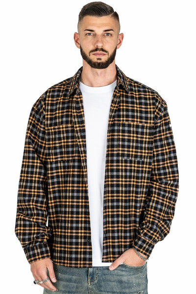 Fio Flannel Shirt Black Beige - PEGADOR - Dominate the Hype