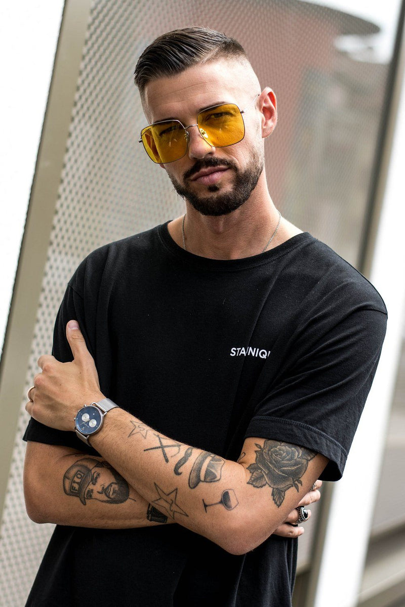 Squared sunglasses silver With yellow lens - PEGADOR - Dominate the Hype