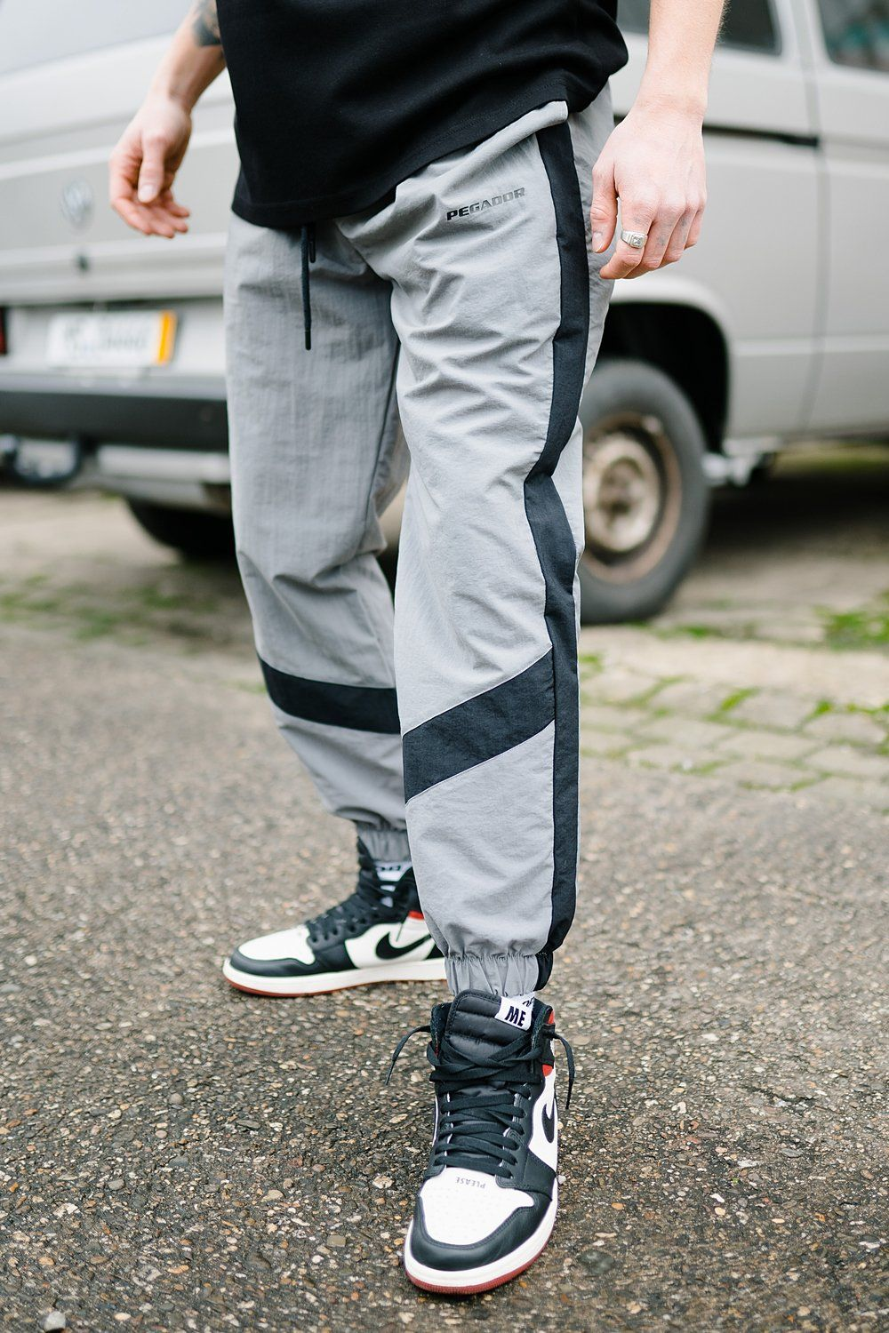 Oran Woven Stripe Pants Grey Black PANTS PEGADOR