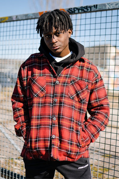 Flato Heavy Flannel Shirt Lava Red - PEGADOR - Dominate the Hype