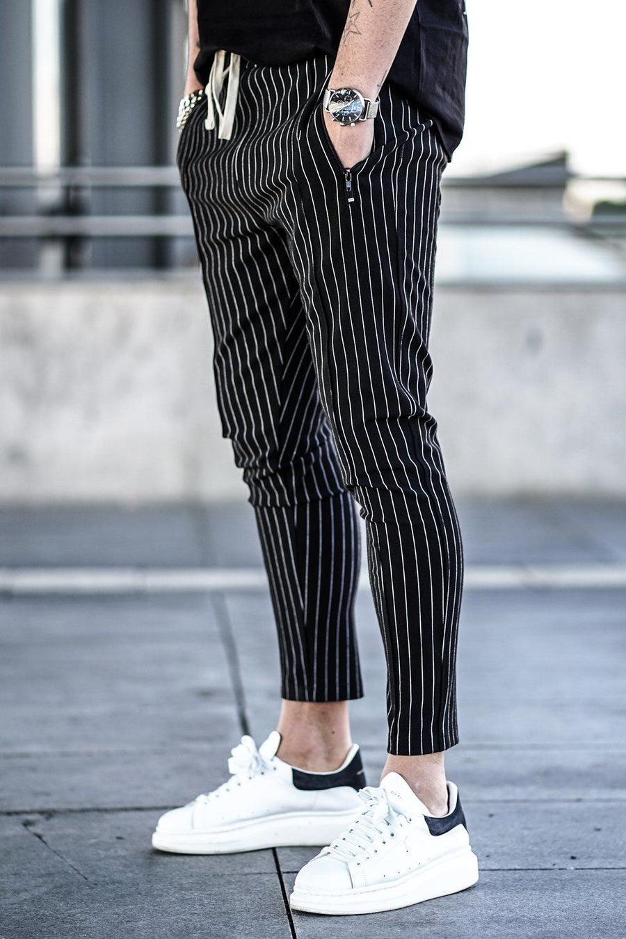 GTL PEGADOR - Clooney Pinstripe Pants Black - PEGADOR - Dominate the Hype