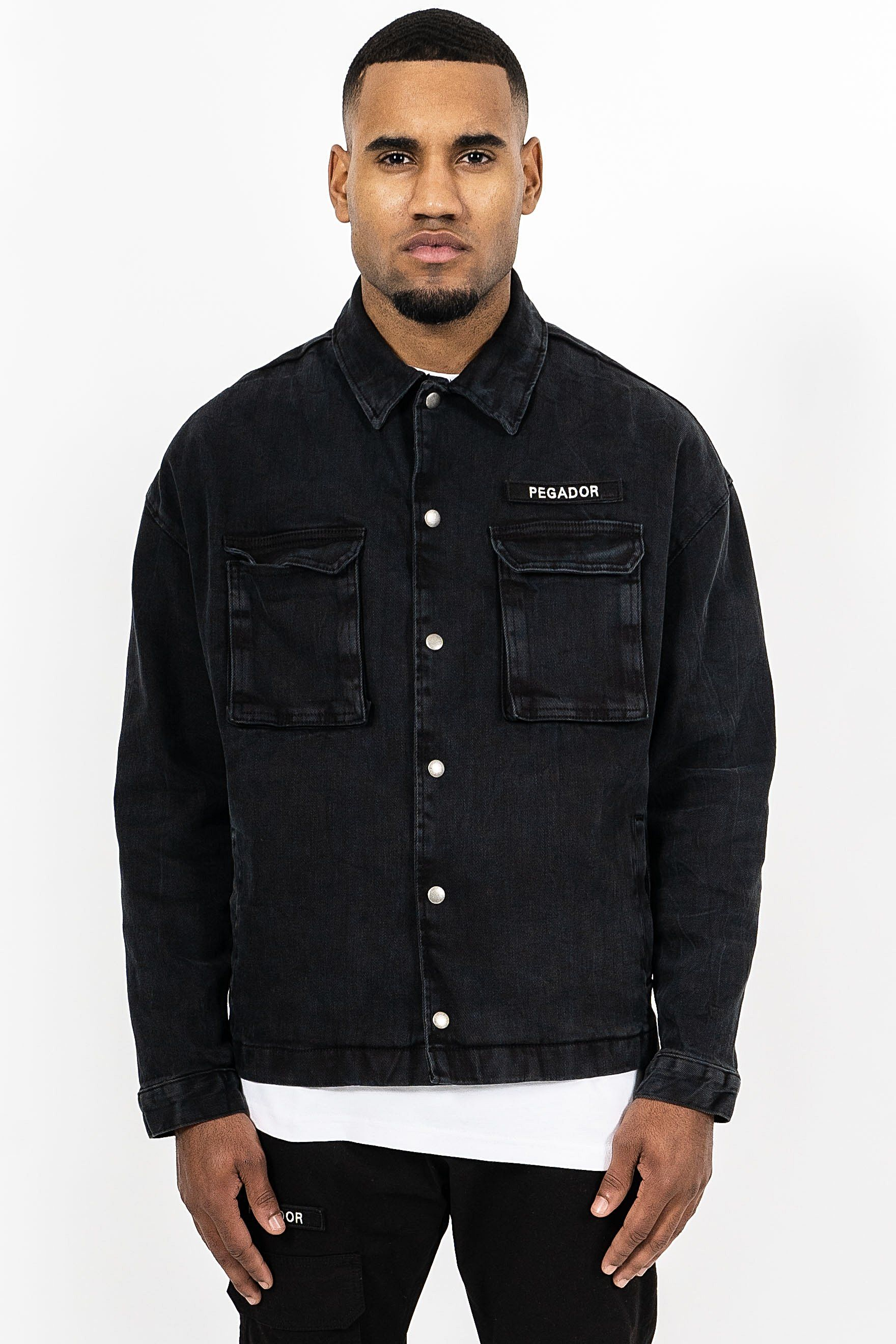 Cargo Oversized Denim Jacket Black JACKET PEGADOR