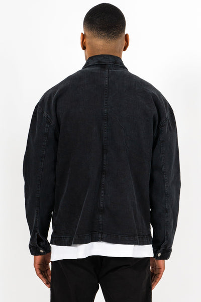 Cargo Oversized Denim Jacket Black - PEGADOR - Dominate the Hype