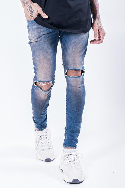 Brito Knee Destroyer Jeans Sand Blue - PEGADOR - Dominate the Hype