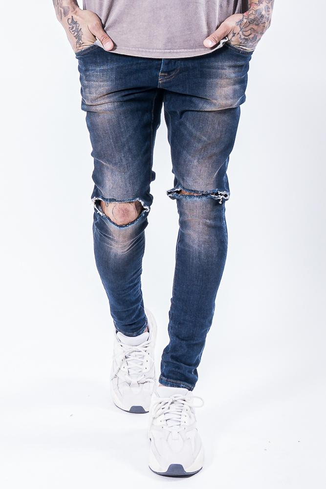 Brito Knee Destroyer Jeans Dark Blue JEANS PEGADOR