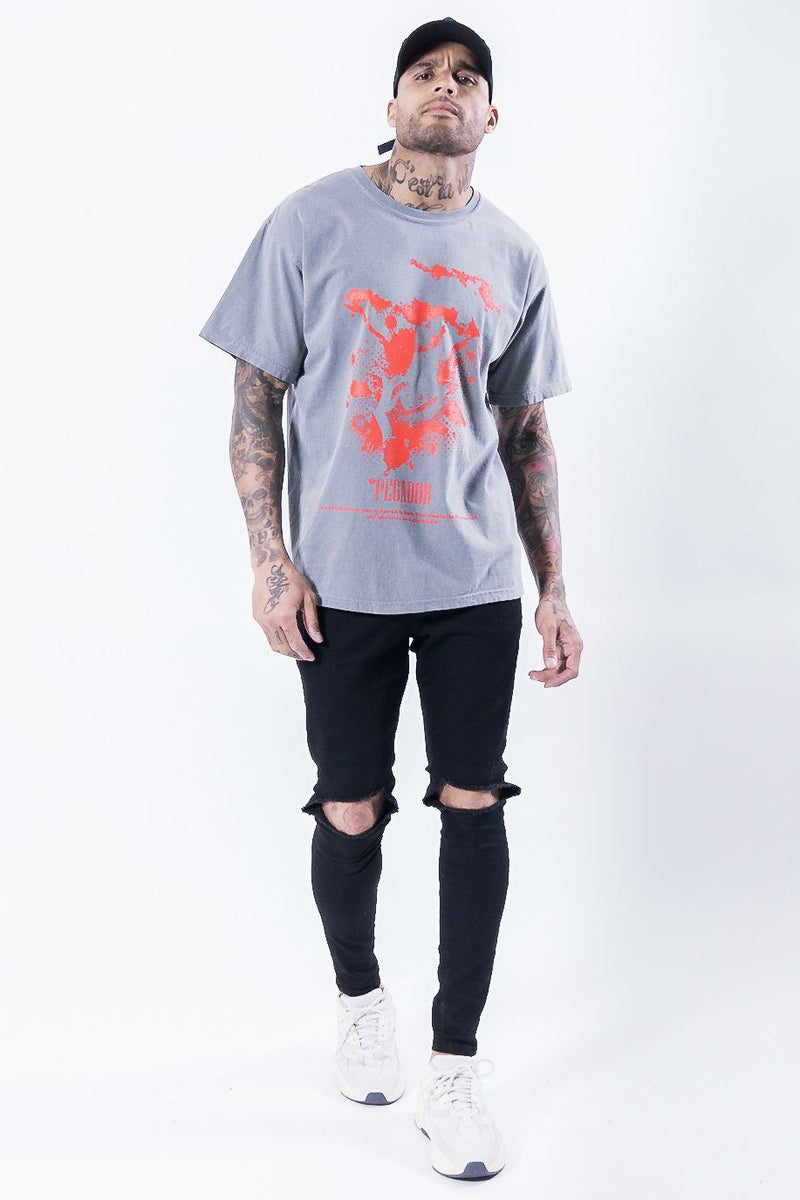 Hell Eye Oversized Tee Washed Grey - PEGADOR - Dominate the Hype