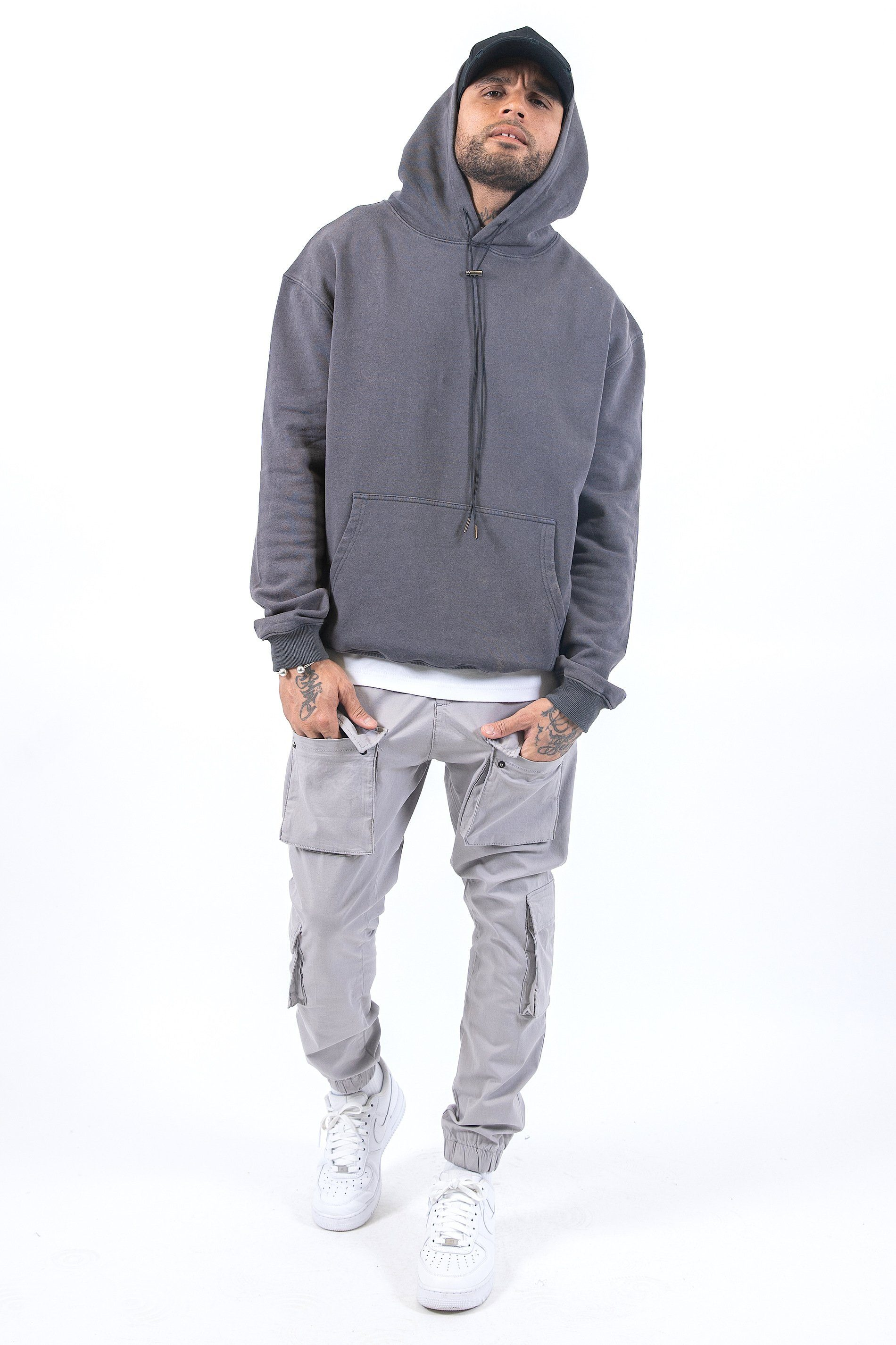 Oversized Basic Hoodie Washed Grey Hoodies PEGADOR