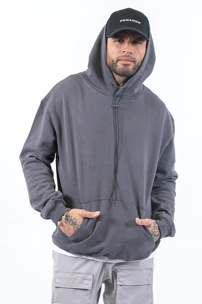 Oversized Basic Hoodie Washed Grey - PEGADOR - Dominate the Hype