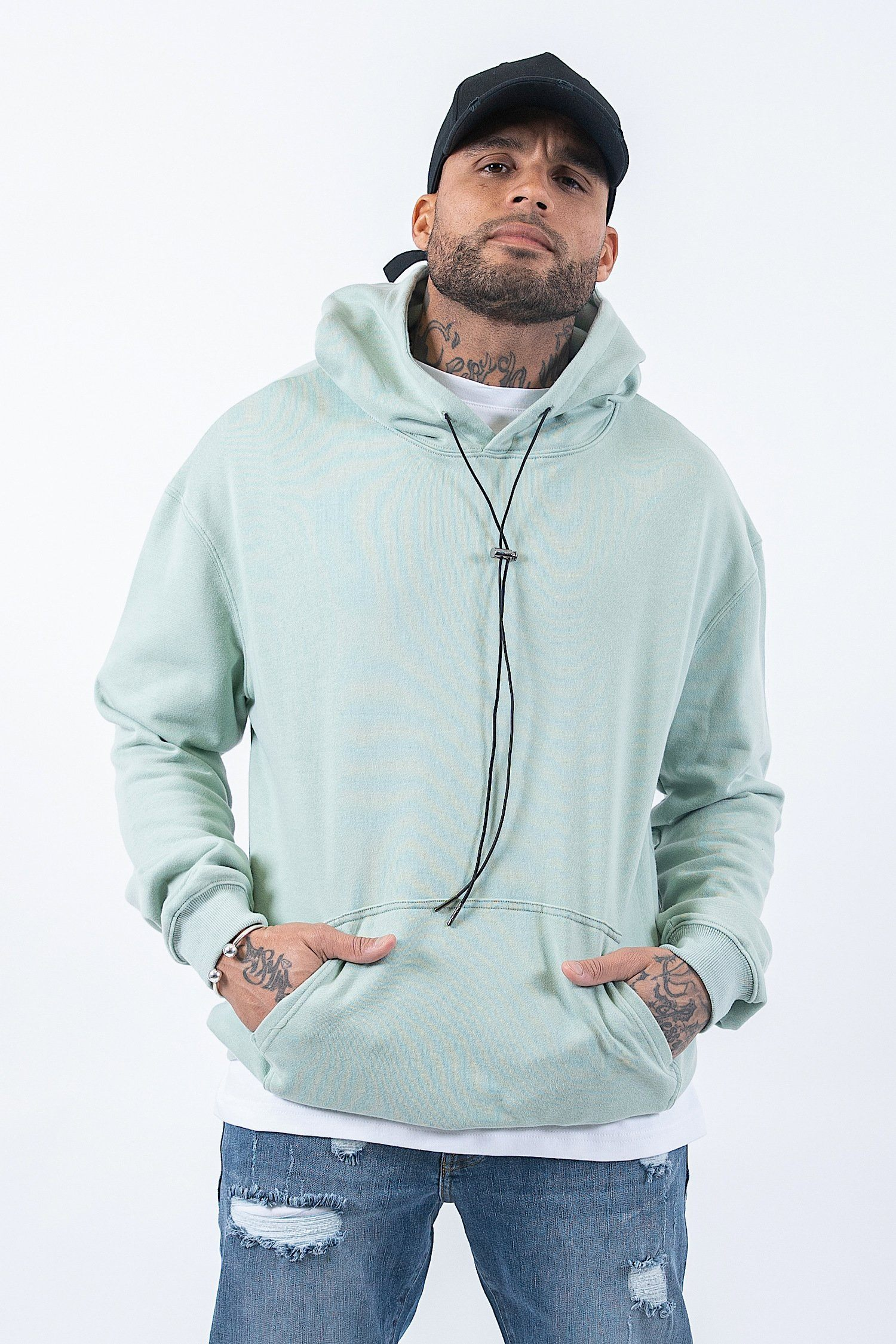 Oversized Basic Hoodie Washed Mint Hoodies PEGADOR