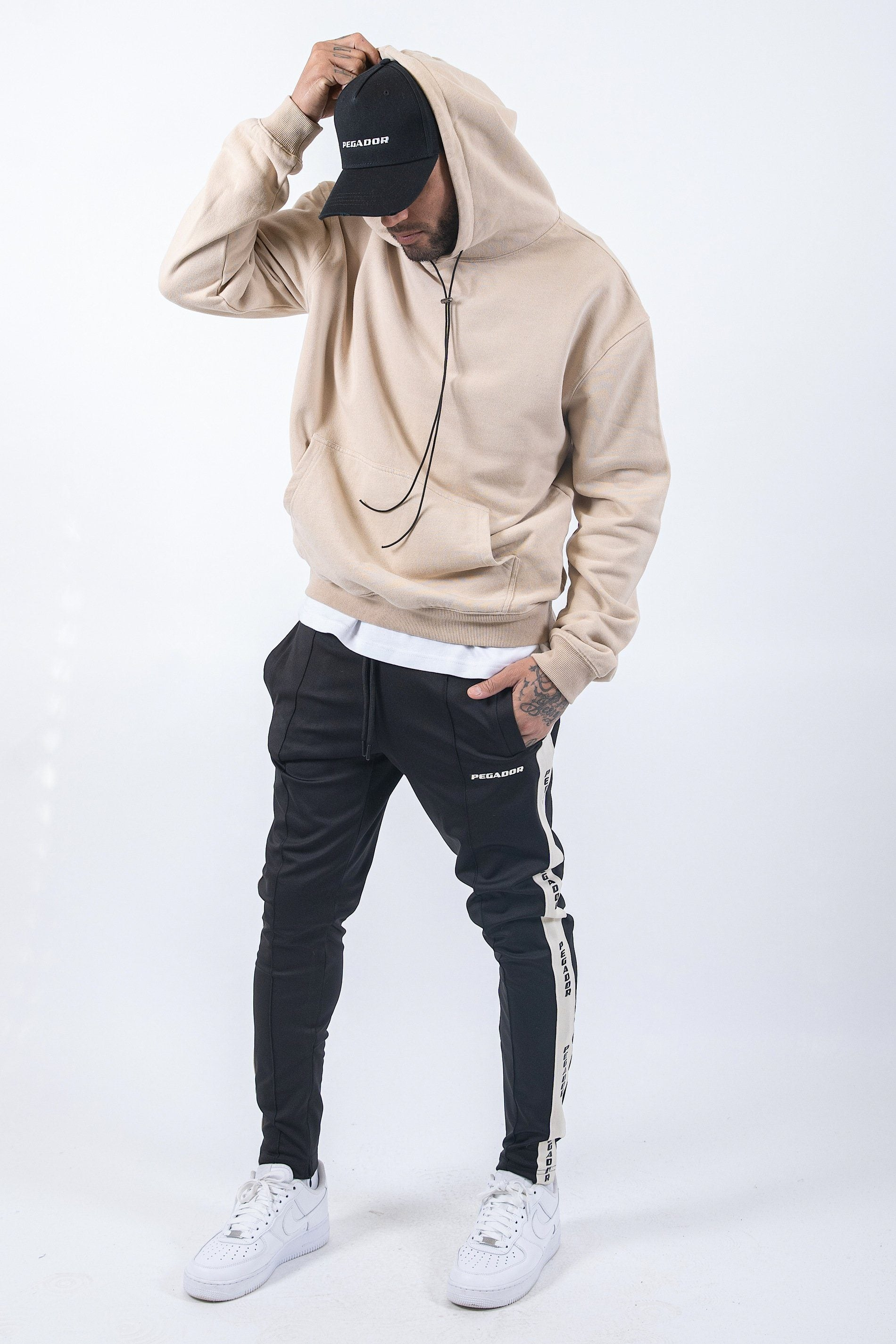 Oversized Basic Hoodie Washed Sand Hoodies PEGADOR
