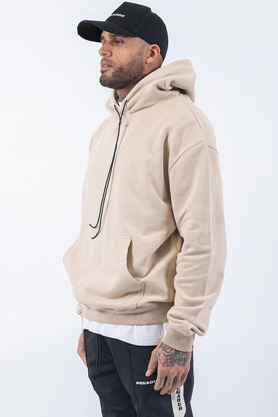Oversized Basic Hoodie Washed Sand - PEGADOR - Dominate the Hype