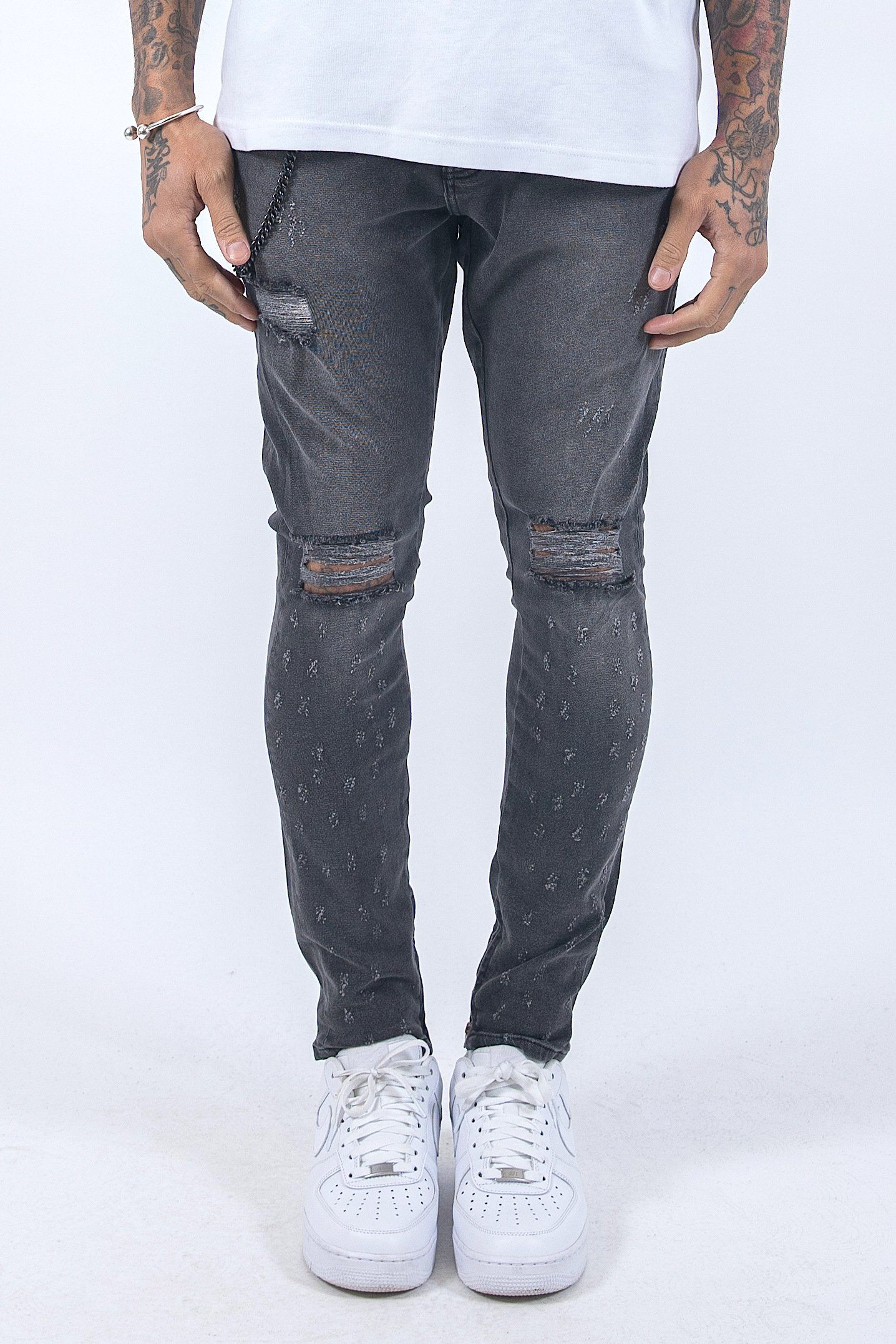 Chayne Destroyed Jeans Grey Jeans PEGADOR