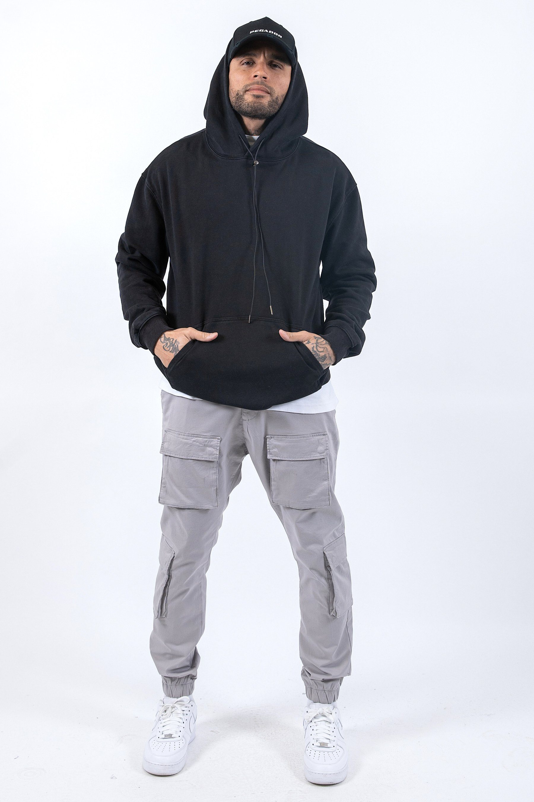 Oversized Basic Hoodie Washed Black Hoodies PEGADOR