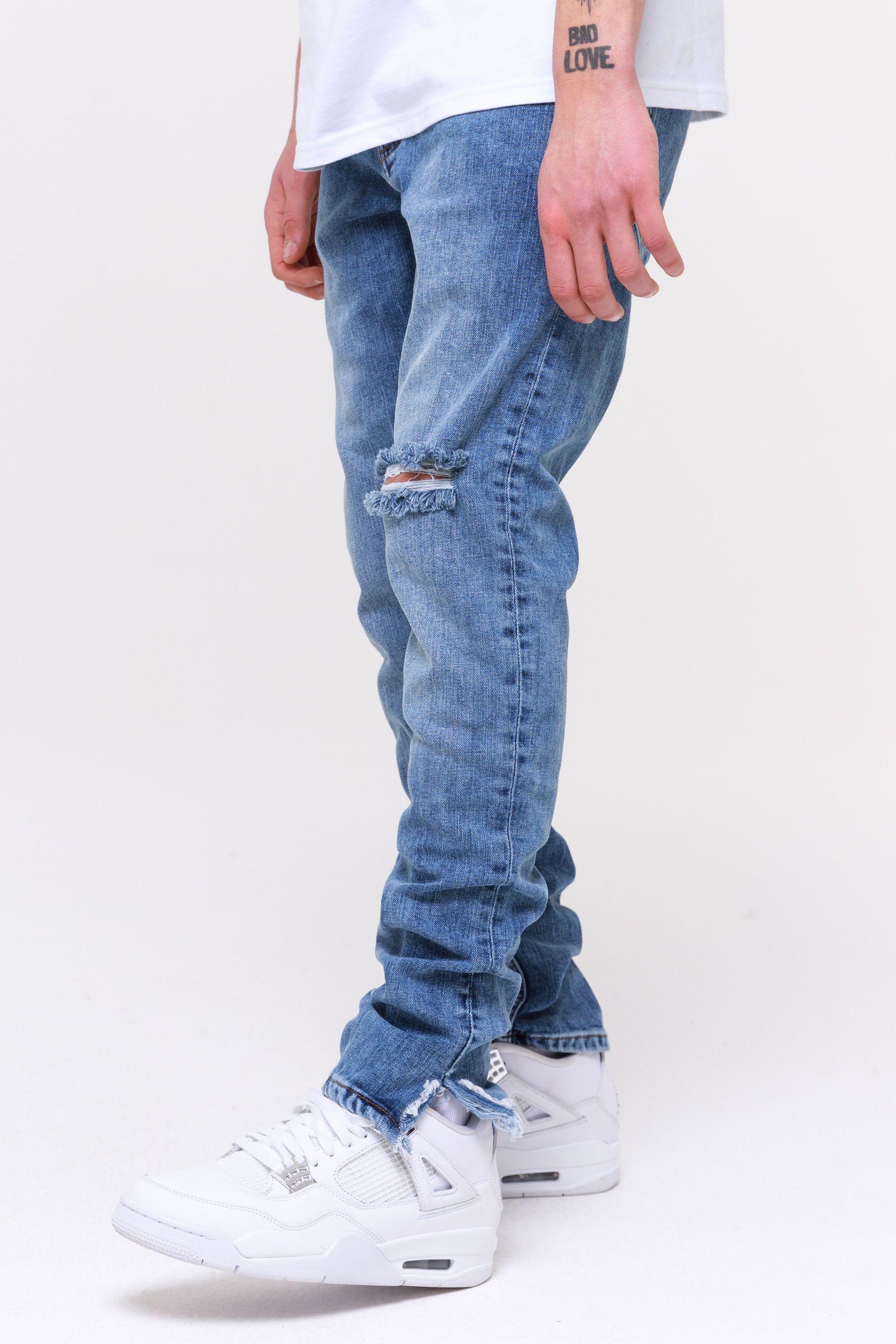 Distressed Ankle Jeans Straw Blue Jeans Wild Society