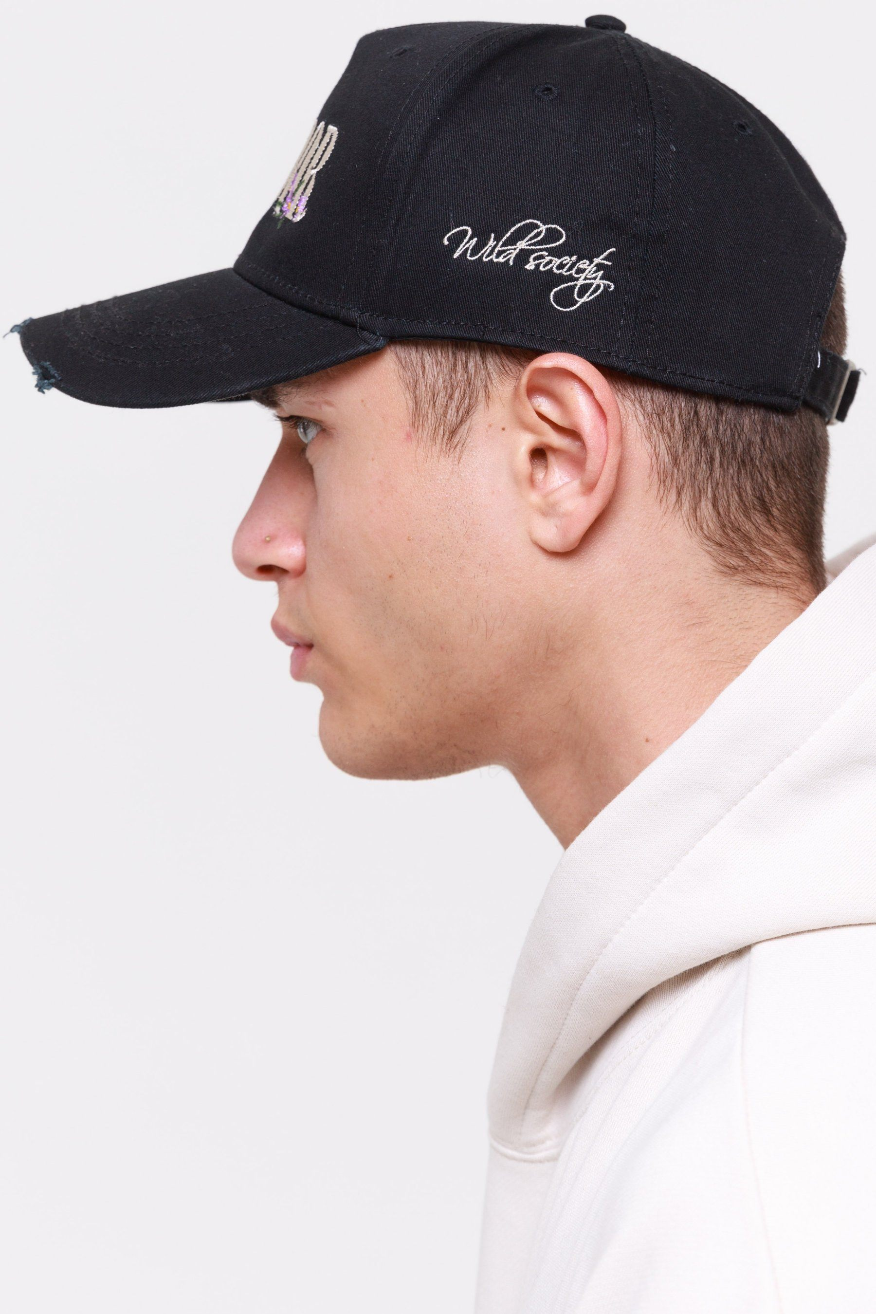 Embroidery Destroyed Cap Black Headwear Wild Society