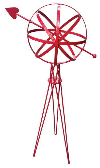"Metal Garden Sphere w/Hairpin Base - Red Finish 39"" Tall - Perfect For Climbing Plants (#1323-R) - Nomadic Grill + Home - 1"