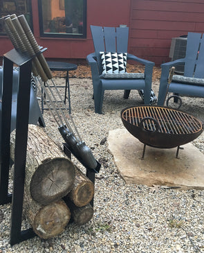 Firewood + Pie Iron Rack For The Cabin or Backyard Firepit - Nomadic Grill + Home - 1