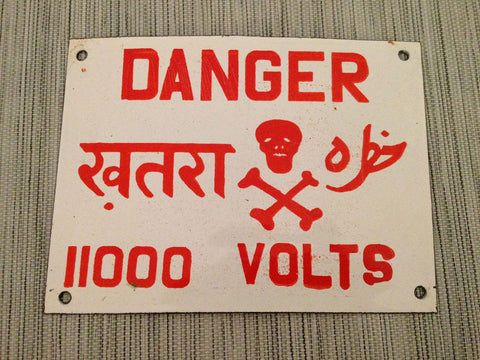 "Enameled Steel ""Danger 11,000 Volts"" Industrial Sign From India - SOLD OUT - Nomadic Grill + Home - 1"