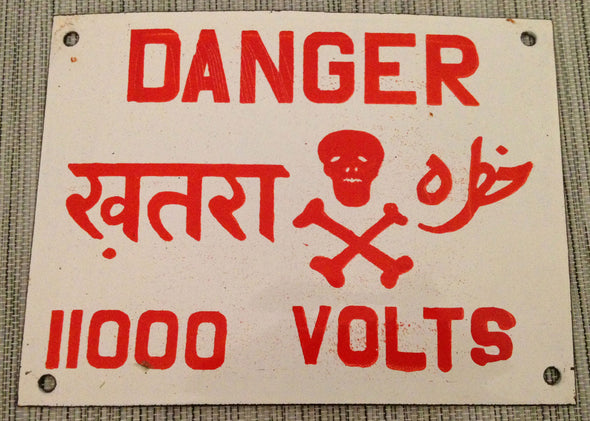 "Enameled Steel ""Danger 11,000 Volts"" Industrial Sign From India - SOLD OUT - Nomadic Grill + Home - 3"