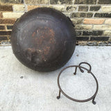 Steel Firebowl / Fire Pit From India with Stand - Sold In As Is Condition (no grill grate, 1 handle missing, small dent) - Nomadic Grill + Home - 5