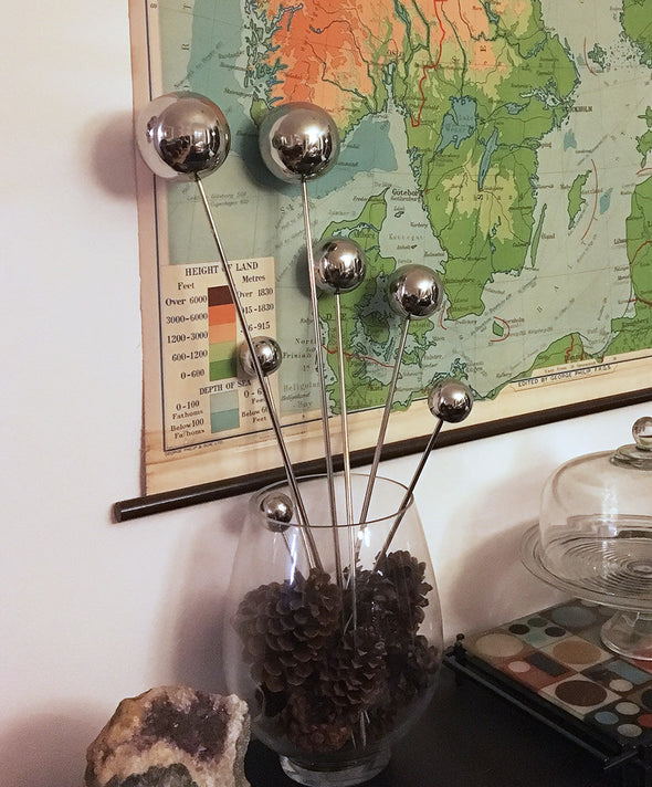 Stainless Steel Garden Lollipops - modern balls on stakes decor for indoor / outdoor use - Nomadic Grill + Home - 4