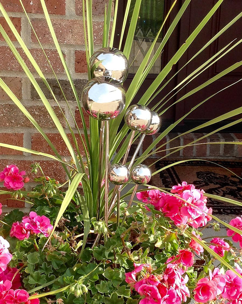 Stainless Steel Plant Stakes : Stainless steel balls on stakes garden lollipops