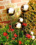 Stainless Steel Garden Lollipops - modern balls on stakes decor for indoor / outdoor use - Nomadic Grill + Home - 5