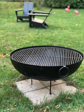 "Large Riveted Steel Firebowl From India w/Grill Grate & Stand - Large (30.5"" dia)"