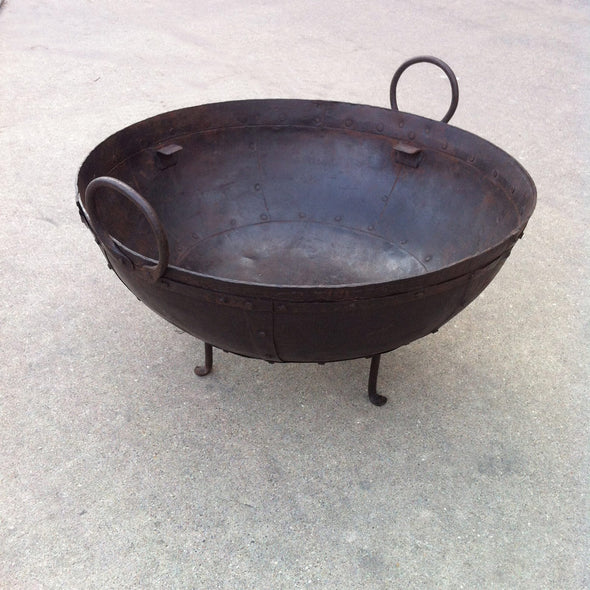 Steel Firebowl / Fire Pit From India W/ Grill Grate and Stand - Medium, Riveted - Nomadic Grill + Home - 4
