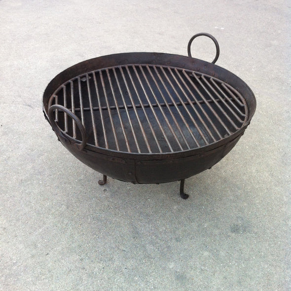 Steel Firebowl / Fire Pit From India W/ Grill Grate and Stand - Medium, Riveted - Nomadic Grill + Home - 2