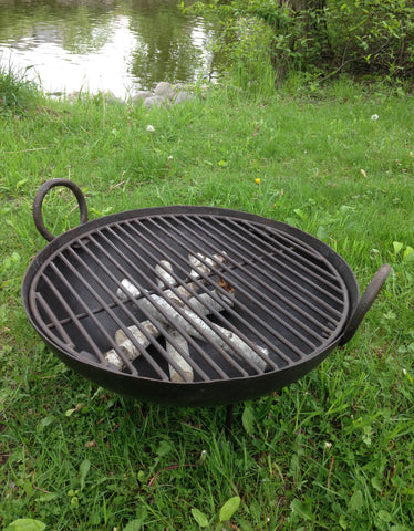 Steel Firebowl / Fire Pit From India W/ Grill Grate and Stand - Medium, Riveted - Nomadic Grill + Home - 1