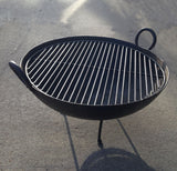 Steel Firebowl / Fire Pit From India W/ Grill Grate and Stand - Medium, Stamped - Nomadic Grill + Home - 2