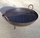 Steel Firebowl / Fire Pit From India W/ Grill Grate and Stand - Medium, Stamped - Nomadic Grill + Home - 5