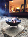 Steel Firebowl / Fire Pit From India W/ Grill Grate and Stand - Medium, Stamped - Nomadic Grill + Home - 9