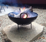 Steel Firebowl / Fire Pit From India W/ Grill Grate and Stand - Medium, Stamped - Nomadic Grill + Home - 1