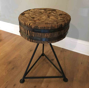 Wood & Steel Bench / Stool / Side Table - made from salvaged wood - Nomadic Grill + Home - 1