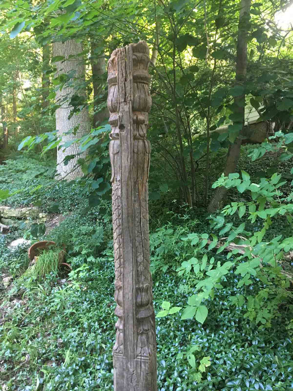 Wood Column Garden Pillar - Architectural Salvage From India - Includes sturdy wrought iron ground stake - Nomadic Grill + Home - 5