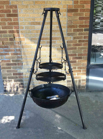Large Tri-Pod Firebowl Cooking Set Includes Two Grill Grates, Stand, Firebowl (firepit), Firepower & Ash Remover - Nomadic Grill + Home - 1